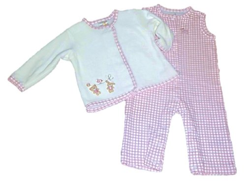 Baby Girl Sleeveless Pink & Ivory Jumpsuit (3-6 Months) front-893576