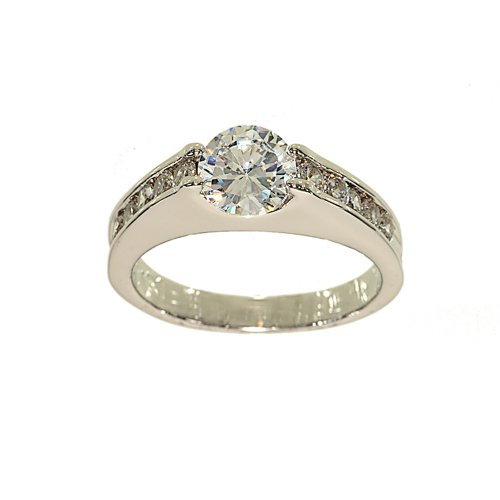 Unusual Floating CZ Engagement Ring Style with Channel Set Sides in Rhodium Plated Brass Size 10