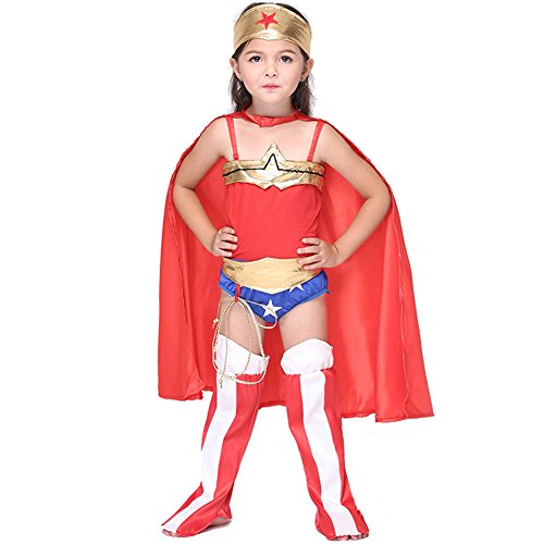 Afoxsos Kids Halloween Costume Comics Cosplay Wonder Woman For Girls (Superwoman Costume For Toddler)
