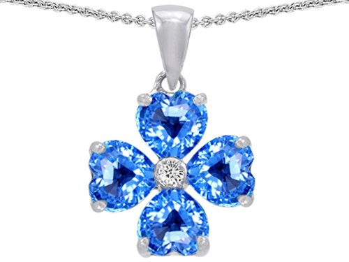 Celtic Love by Kelly 6mm Heart Shape Genuine Blue Topaz Lucky Clover Pendant in .925 Sterling Silver