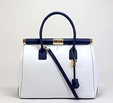 Sac à Main - CUIR VERITABLE - Docteur - Genuine leather bag - CUIR effet Croco (BLANC / BLEU MARINE)