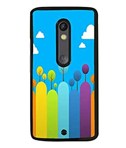 printtech Colored Line Trees Abstract Back Case Cover for Motoroal Moto X Play