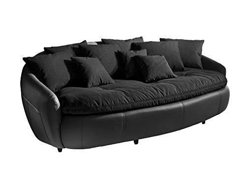 Cotta M010530 C310/H360 Modernes Megasofa, Sitzkissen und Rückenkissen 238 x 140 cm, Strukturstoff schwarz, Korpus in weichem Kunstleder schwarz thumbnail