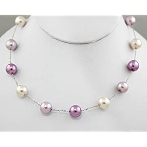 Lavender, Lilac and White Colored Pearl Necklace with Silver Chain - Purple Bridesmaid Jewelry