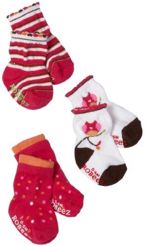 Robeez Baby-girls Infant 3 Pack Owl Socks, Fuchsia/Multi, 6-12 Months