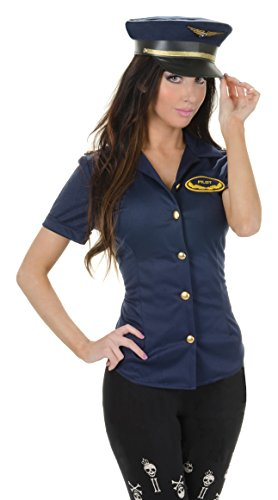 [Underwraps Women's Pilot Fitted Shirt, Navy, Small] (Aviation Themed Party Costumes)