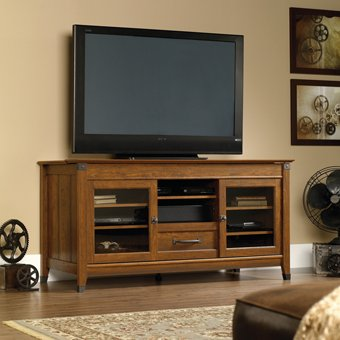 Sauder Carson Forge TV Stand in Washington Cherry