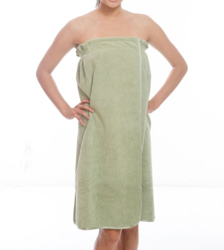 Luxury Microfiber Spa Wrap, Tap Snap, Xl (Olive Green) front-705406