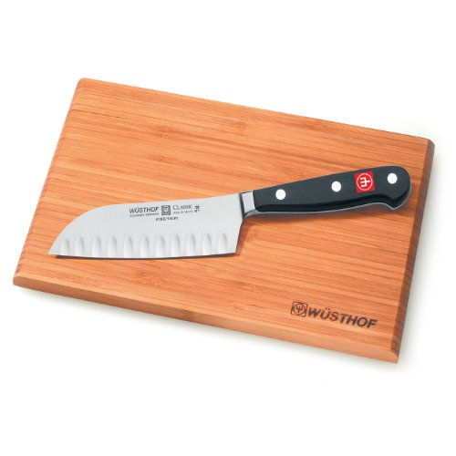 "Classic 5"" Hollow Edge Santoku Knife With Board"