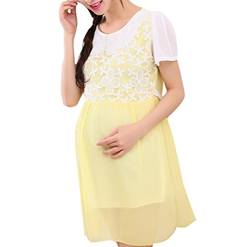 Sweet Maternity Ladies Women Loose Chiffon Lace Stitching Dress Size M - Yellow