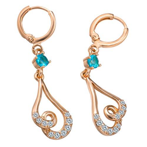 Snowman Lee Shiny Lover 18k Rose Gold Plated Multi Diamond Music Dangle Earrings