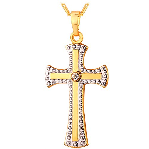 Two Tone Gold Cross Pendant Necklace 18K Yellow & Platinum Plated Chritian Religious Jewelry