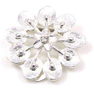 Floral Design Silver Effect Scarf Clip, Brooch, Scarf Tie with Diamante Centre