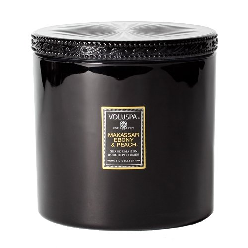 Voluspa Makassar Ebony and Peach Grande Maison Glass Candle With Lid 36 oz