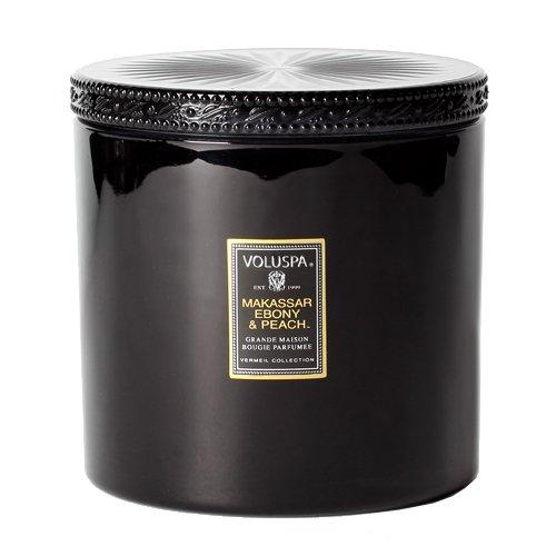 Voluspa Makassar Ebony and Peach Grande Maison Glass Candle With Lid 36 oz