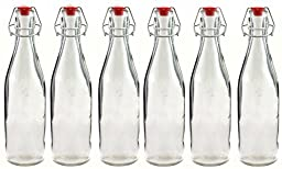 Swing Top Home Brew Bottles, Clear 500ml Glass Bottles (Set of 6)