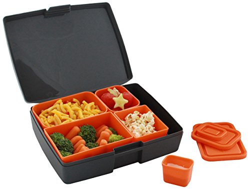 laptop lunches bento ware lunch box with bpa free leak proof containers gray orange. Black Bedroom Furniture Sets. Home Design Ideas