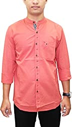AA' Southbay Men's English Red Mandarin Collar Linen Cotton Long Sleeve Solid Designer Ceremonial Shirt