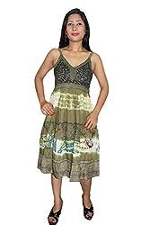 Indiatrendzs Women's Dress Tie-Dye Green Casual Wear Cotton Midi Dress