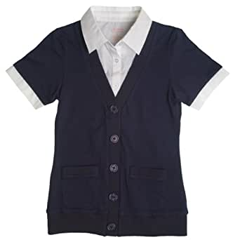 French Toast School Uniforms Cardigan Blouse Twofer Girls white 8