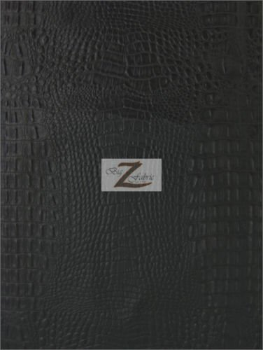 """ALLIGATOR EMBOSSED VINYL FAUX LEATHER PLEATHER FABRIC - Black - 54"""" WIDTH SOLD BY THE YARD"""