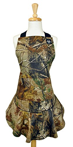 DII 100% Cotton, Machine Washable, RealTree Fashion Chef Apron Perfect For A Camo Kitchen, BBQ, Camping, Flounce Ruffle Apron For Hosting Or Gift - Camo (Camo Bbq compare prices)