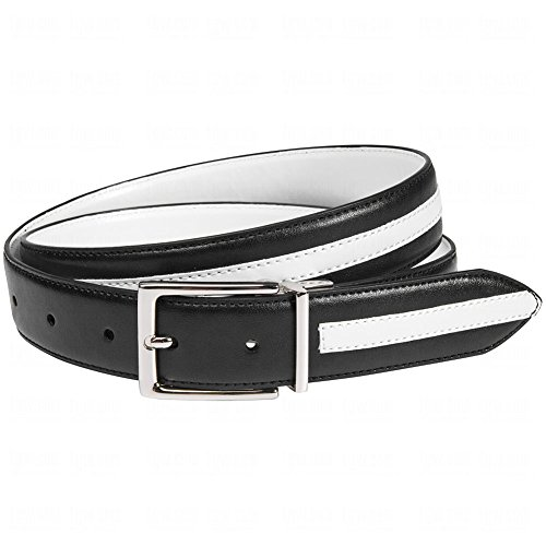 Aquarius Mens Contrast Overlay Reversible Belt 42 42.0 Black/White
