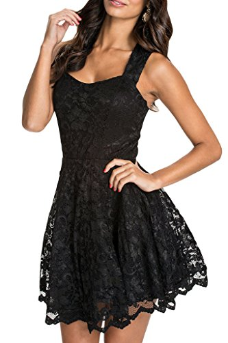 Chase Secret Women's Lace Party Fit-and-Flare Skater Dress Size X-large Black