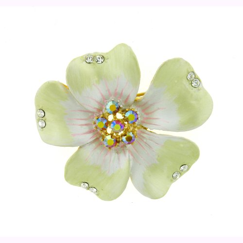 Large Plumeria Pin Brooch 24K Gold Swarovski Crystals Jewelry White Blue Pink...