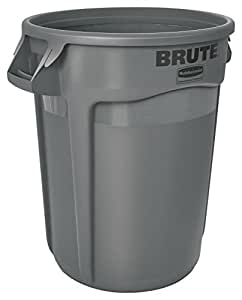Rubbermaid Commercial FG263200GRAY Brute Heavy-Duty Waste/Utility Container (Vented, 32-gallon, Gray)