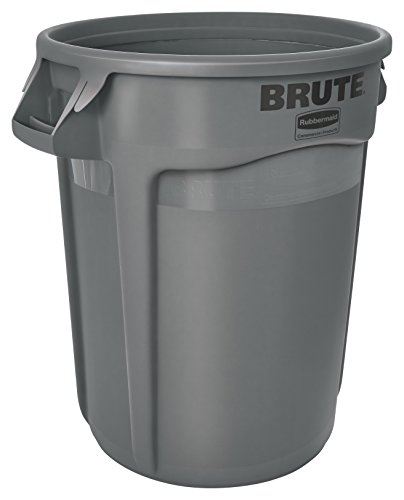 Rubbermaid Commercial FG263200GRAY Brute LLDPE Round Container without Lid, 32-gallon, Gray image