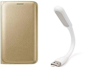 Novo Style Samsung Galaxy S7 Edge Folio PU Leather Case Slim Cover with Stand+ Mini USB LED Light Adjust Angle / bendable Portable Flexible USB Light