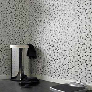 Contour Checker Mosaic Effect Wallpaper - Black a by New A-Brend