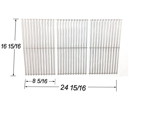 Stainless Steel Cooking Grid Grate Replacement for Select Gas Grill Models by Centro, Charbroil, Broil King, Vermont Castings, Kenmore, Kirland, and Thermos, Set of 3