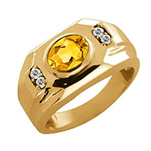 1.33 Ct Oval Yellow Citrine Topaz 14K Yellow Gold Men's Ring