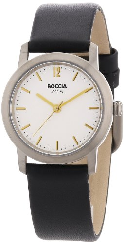 Boccia B3170-02 Ladies White Face Black Strap Watch