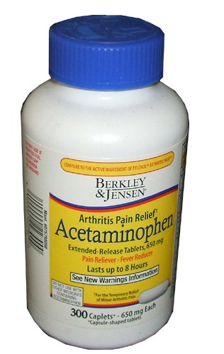 Berkley and Jensen Arthritis Pain Relief Acetaminophen Extended Release Tablets, 650mg Pain Reliever and Fever Reducer 8 Hour Relief 300 Caplets per Bottle