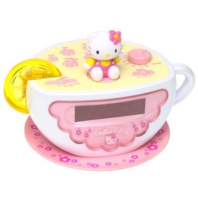 Hello Kitty Pink Tea Cup Alarm Clock light