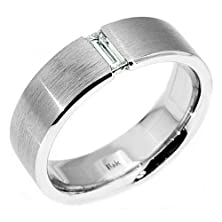 buy 14K White Gold Mens Solitaire Baguette Cut Diamond Ring .25 Carats