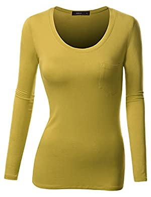 Doublju Women Long Sleeve Round Neckline Basic Comfy Long Tee MUSTARD,XL