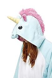 Adulte Unisexe Animal Costume Cosplay Combinaison Pyjama Outfit Nuit Fleece Halloween Unicorn (L(168-178CM), Blue)