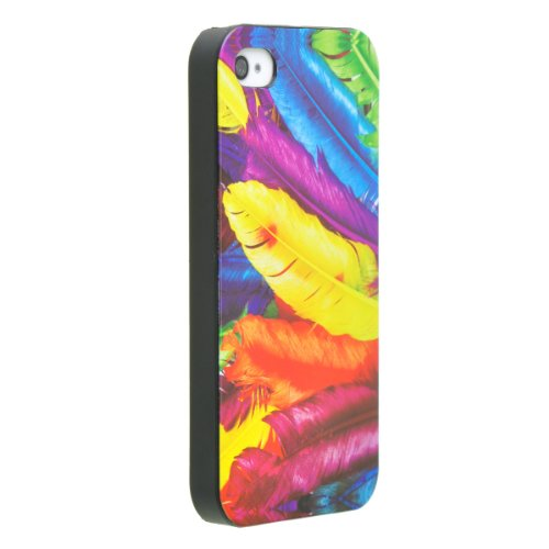Okeler Oil Painting Beautiful Colorful Feather Ultrathin Case Cover for Apple iPhone 4S with Free Pen