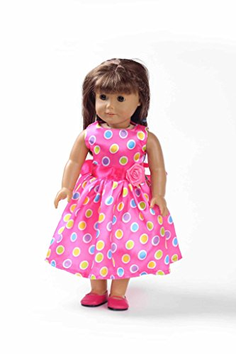 Teenitor(TM) Pink Polka Dot Long Dress Fits 18 Inch Girl Dolls (Shipping By FBA) - 1