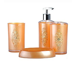 Bathroom accessory sets durable gold for Gold bath accessories sets