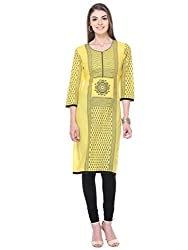 Aamii Women Block Printed Kurta (Aamii-826-XL, Yellow, Black, X-Large)