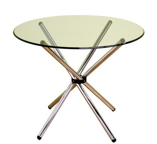 Cheap Glass Top Round Dining Table – Chrome Finish (VF_WI-DR77017)