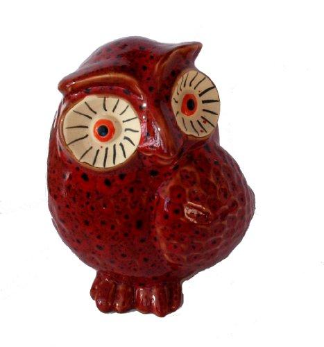 ceramic owl ornament (red)