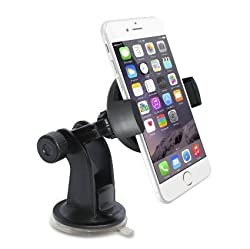 Car Mount, TechMatte ProGrip (2nd Gen) Universal Dashboard and Windshield Car Mount Holder/Cradle (Black) for the Apple iPhone 6, 6S 5, LG G4, Samsung Galaxy S6 with Super Suction Sticky Gel Pad