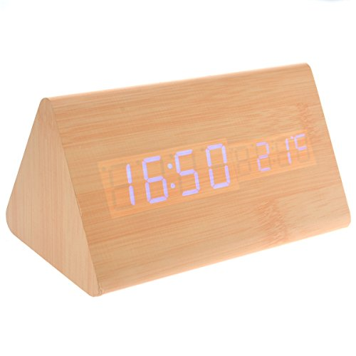 Tinksky 015-11 Usb Aaa Powered Triangle Shaped Voice Control Blue Light Digital Led Wooden Desk Alarm Clock With Date Temperature (Burlywood)
