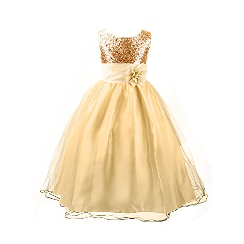 Acediscoball Big Girls'Flower Party Wedding Gown Bridesmaid Tulle Ruffle Dress Size US 7/6-7